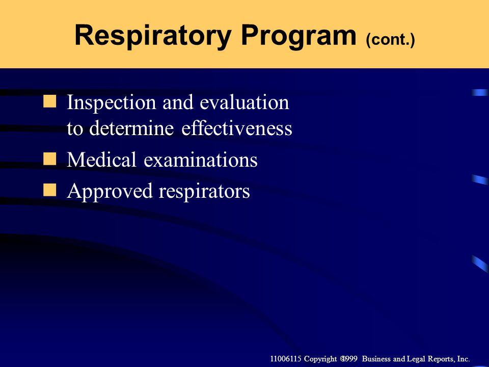 Respiratory Program (cont.)