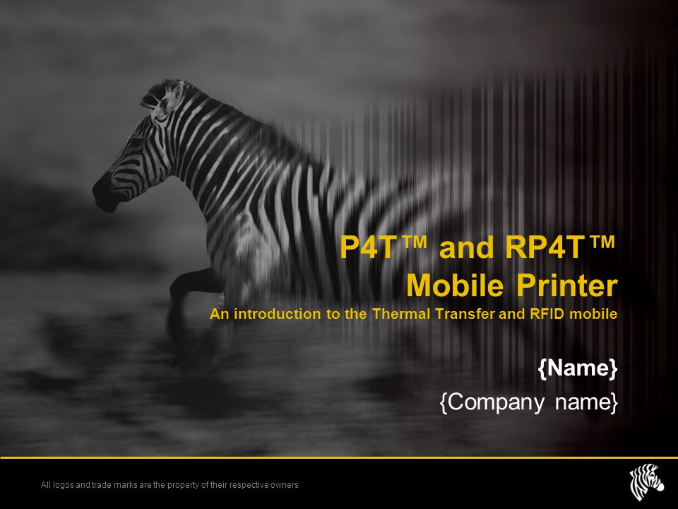 P4T™ and RP4T™ Mobile Printer An introduction to the Thermal Transfer and RFID mobile
