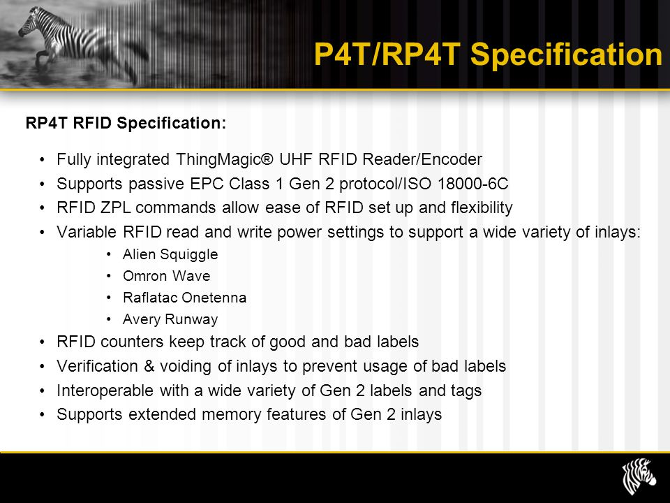 P4T/RP4T Specification RP4T RFID Specification: