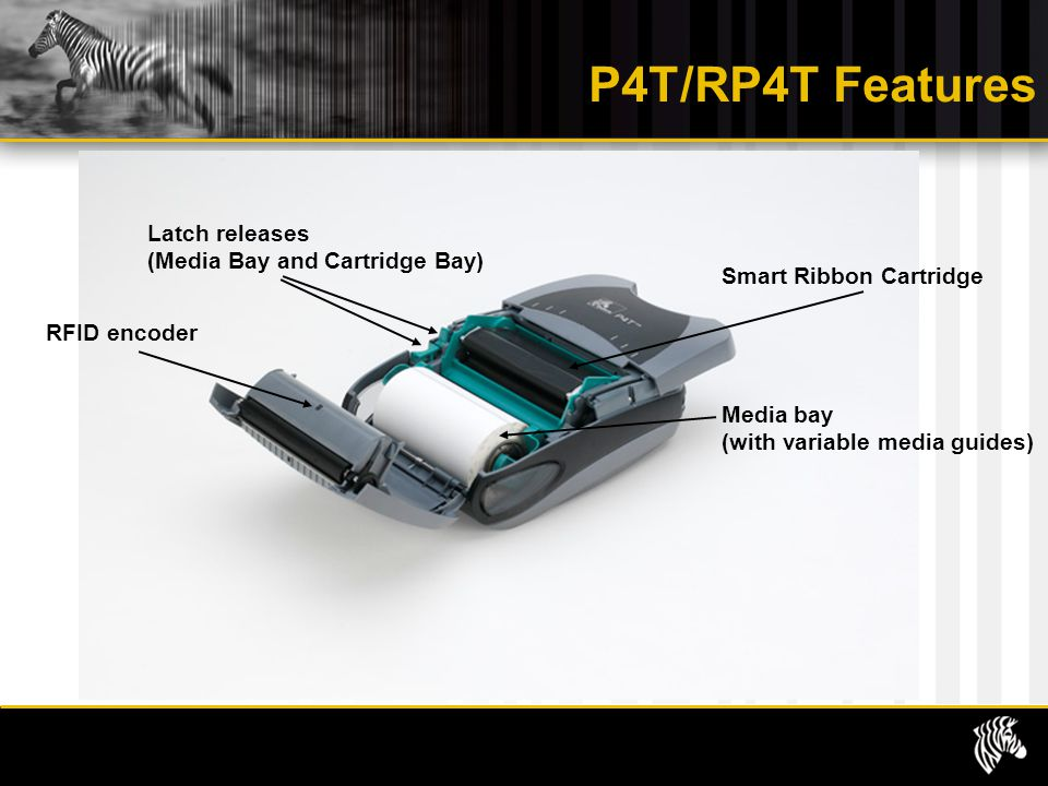 P4T/RP4T Features Latch releases (Media Bay and Cartridge Bay)