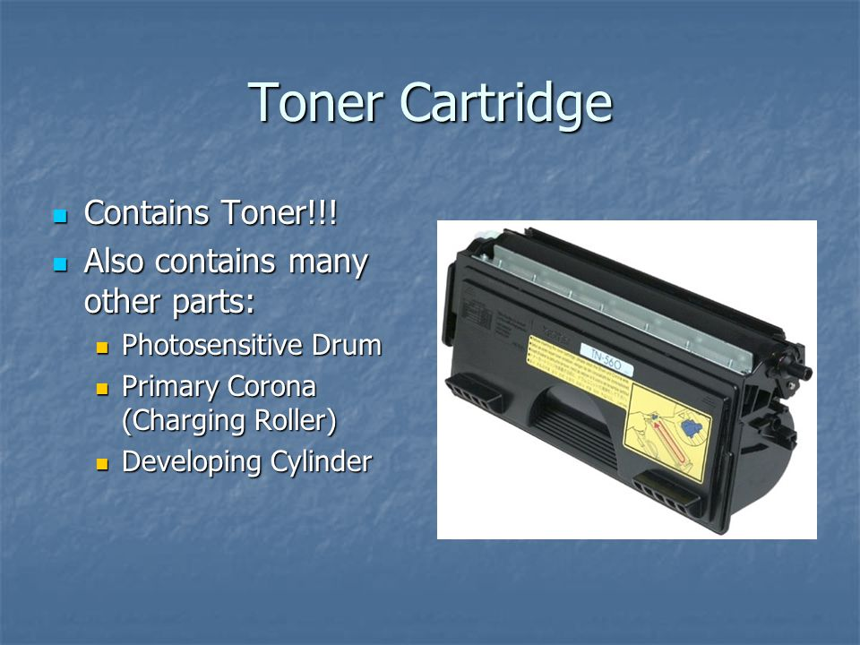 Toner Cartridge Contains Toner!!! Also contains many other parts: