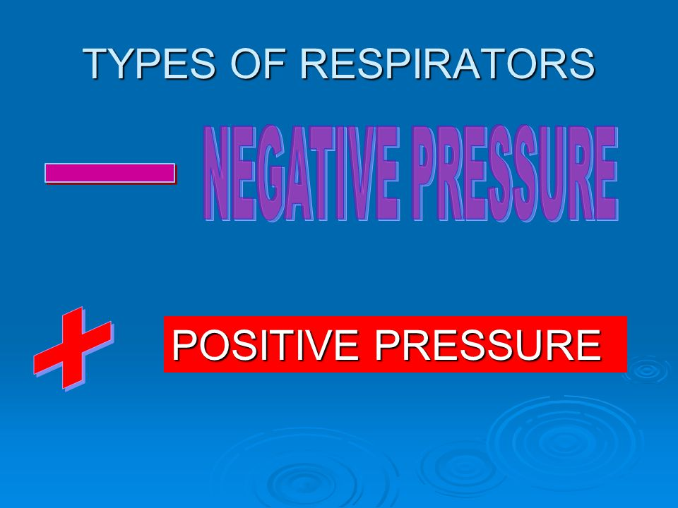 TYPES OF RESPIRATORS NEGATIVE PRESSURE - + POSITIVE PRESSURE