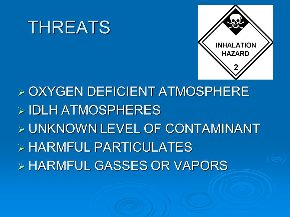 THREATS OXYGEN DEFICIENT ATMOSPHERE IDLH ATMOSPHERES