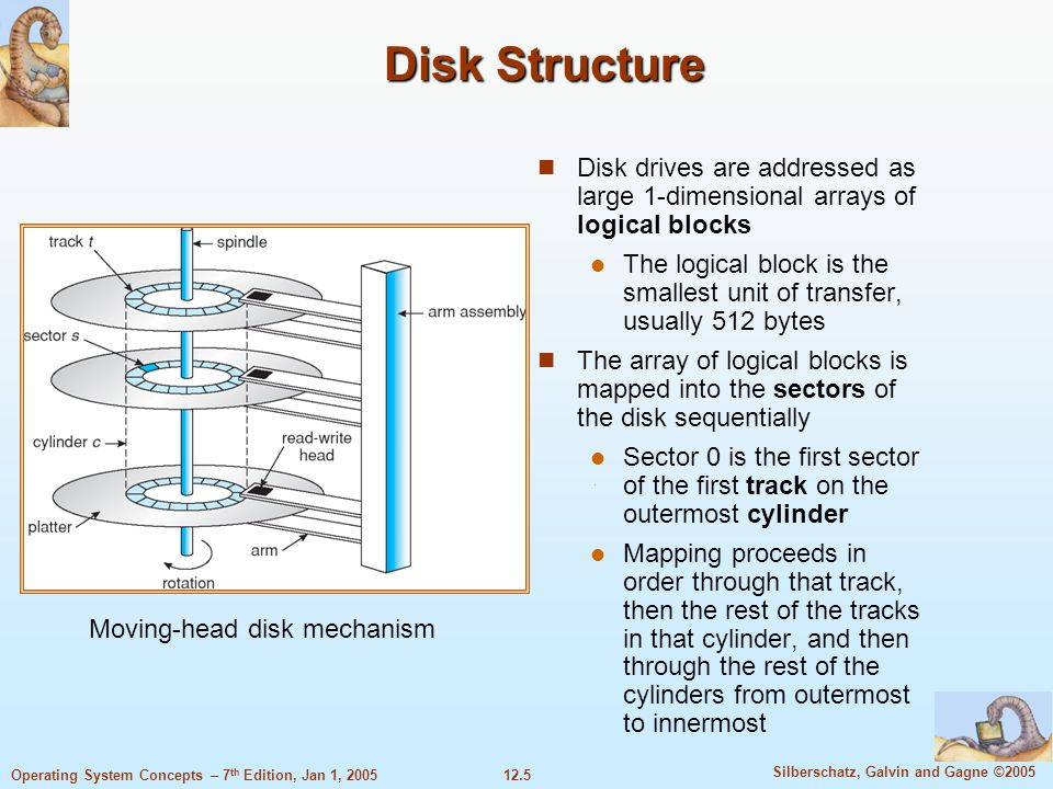 Disk Structure Disk drives are addressed as large 1-dimensional arrays of logical blocks.