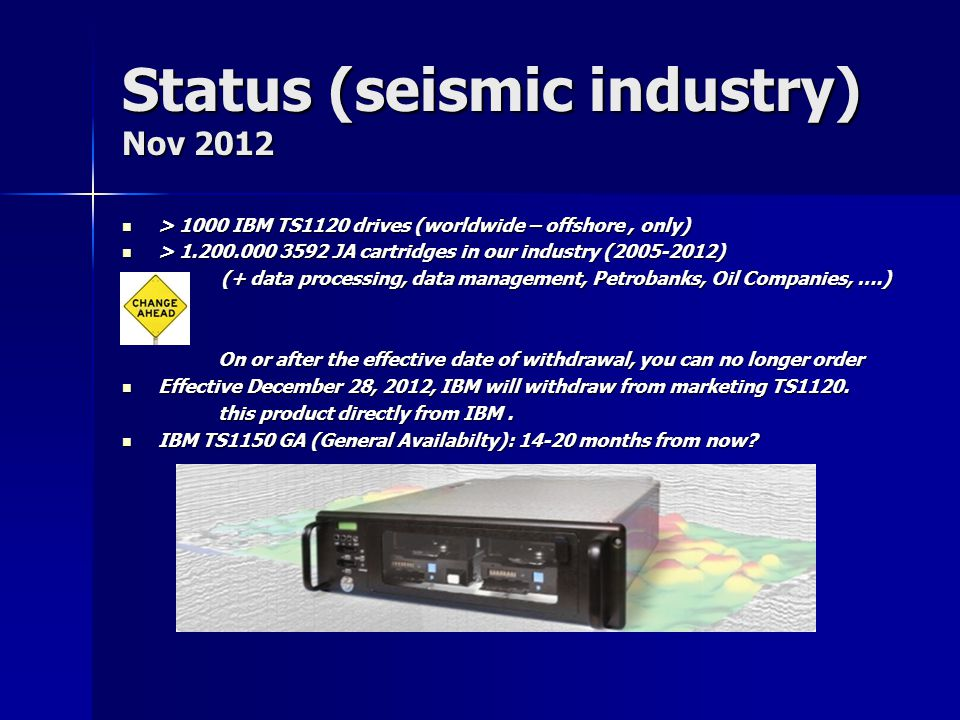Status (seismic industry) Nov 2012