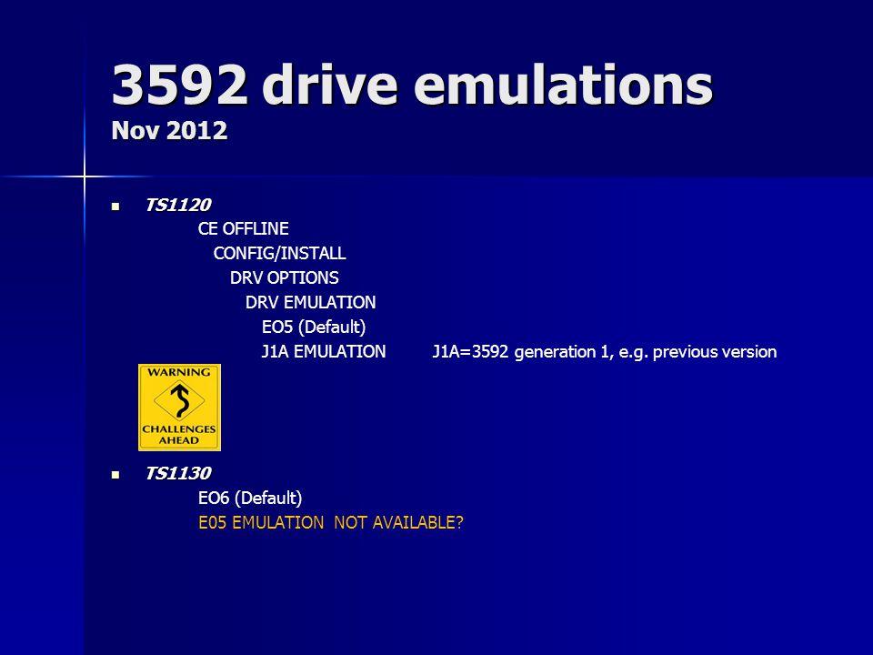 3592 drive emulations Nov 2012 TS1120 CE OFFLINE CONFIG/INSTALL