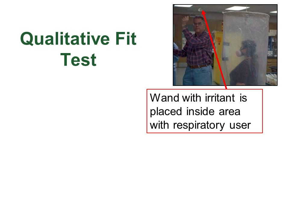 Qualitative Fit Test Wand with irritant is placed inside area with respiratory user.