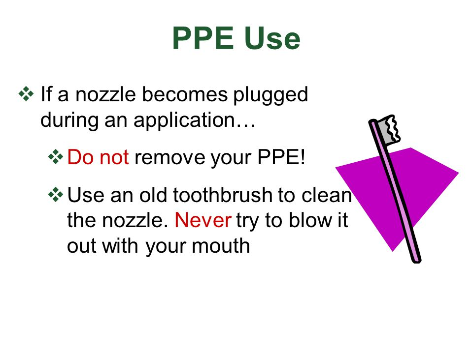 PPE Use If a nozzle becomes plugged during an application…