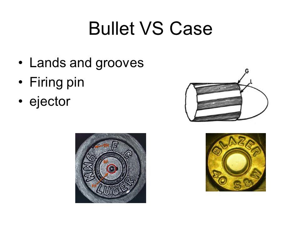 Bullet VS Case Lands and grooves Firing pin ejector