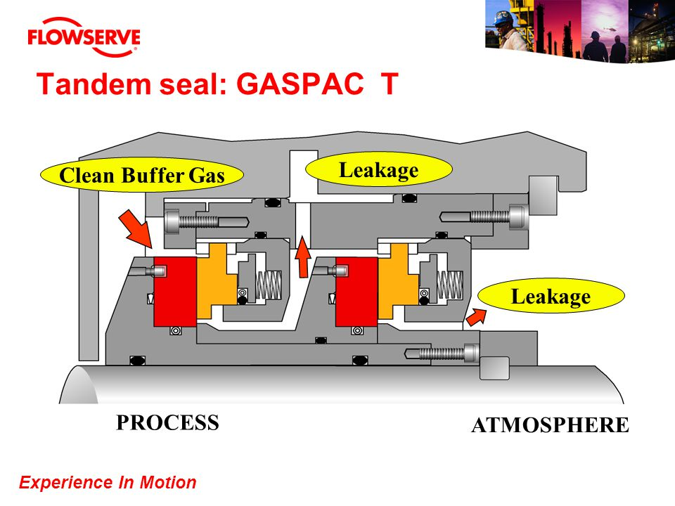 Tandem seal: GASPAC T Clean Buffer Gas PROCESS ATMOSPHERE Leakage
