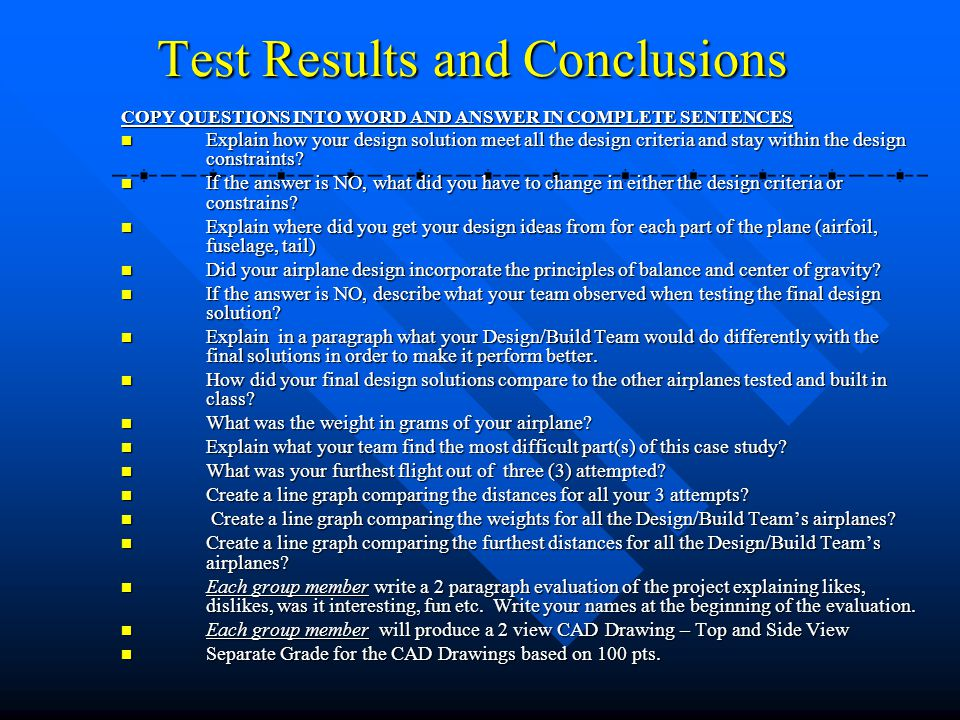 Test Results and Conclusions