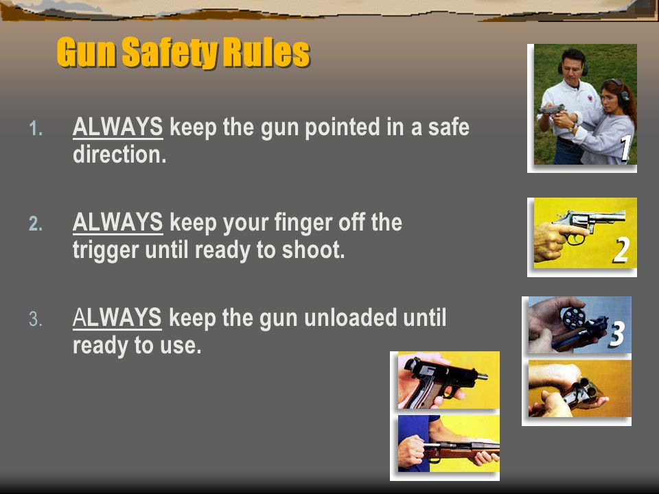 Gun Safety Rules ALWAYS keep the gun pointed in a safe direction.
