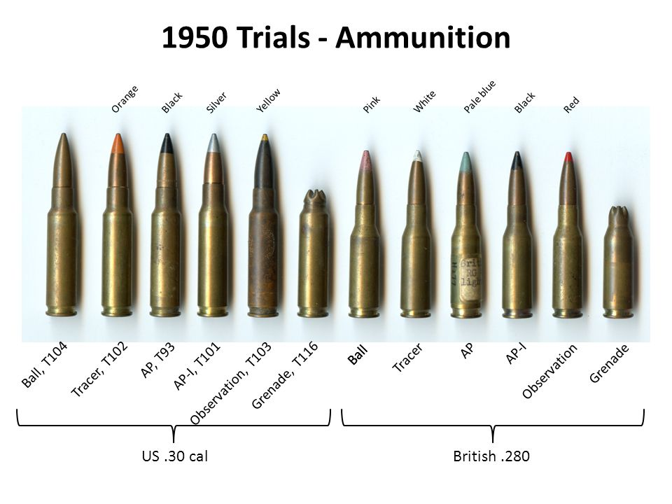 1950 Trials - Ammunition US .30 cal British .280 Ball, T104