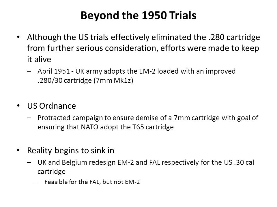 Beyond the 1950 Trials