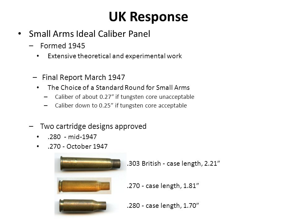 UK Response Small Arms Ideal Caliber Panel Formed 1945