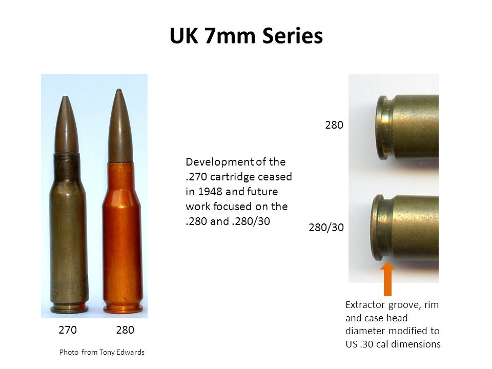 UK 7mm Series 280. Development of the .270 cartridge ceased in 1948 and future work focused on the .280 and .280/30.