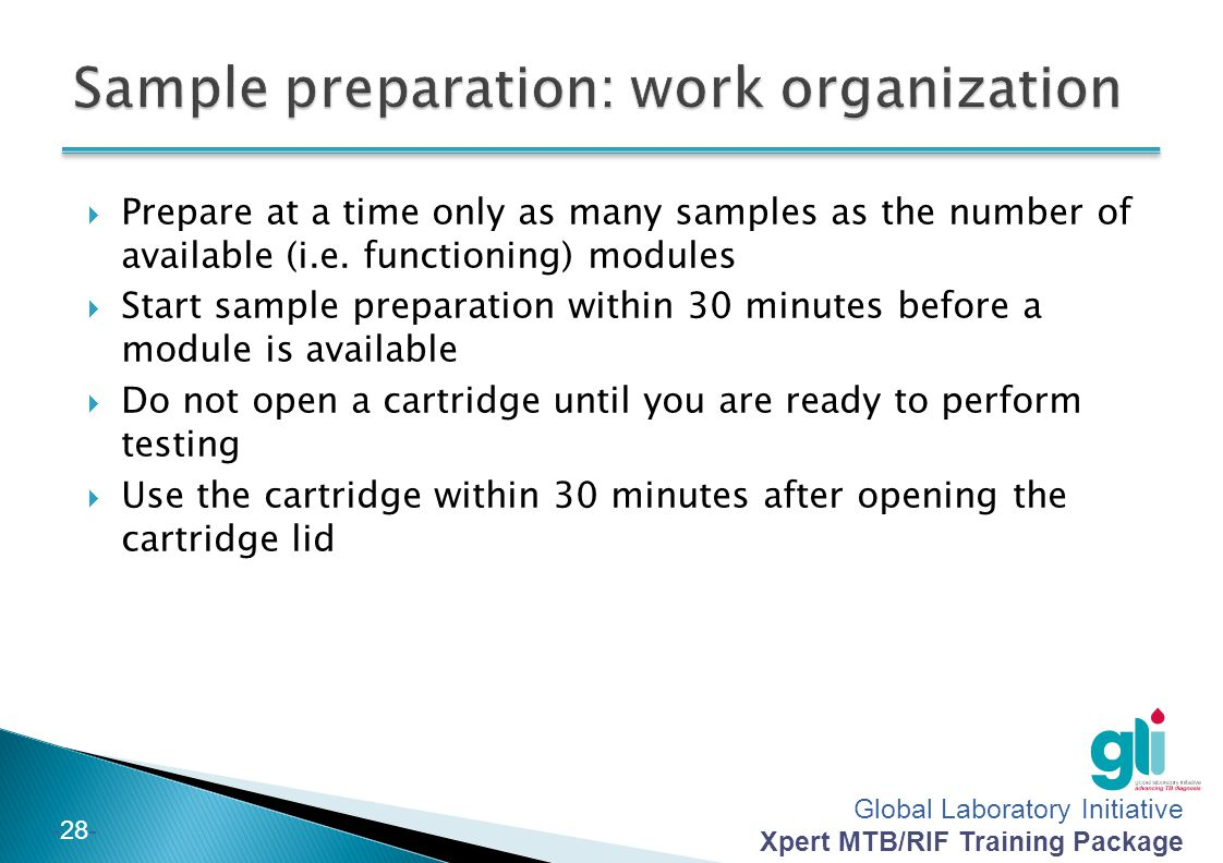 Sample preparation: work organization
