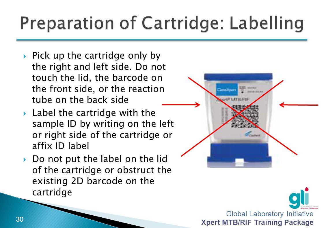 Preparation of Cartridge: Labelling