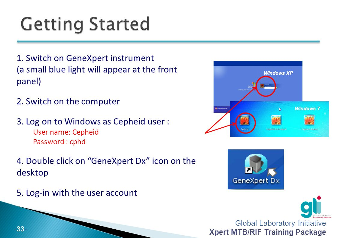 Getting Started 1. Switch on GeneXpert instrument