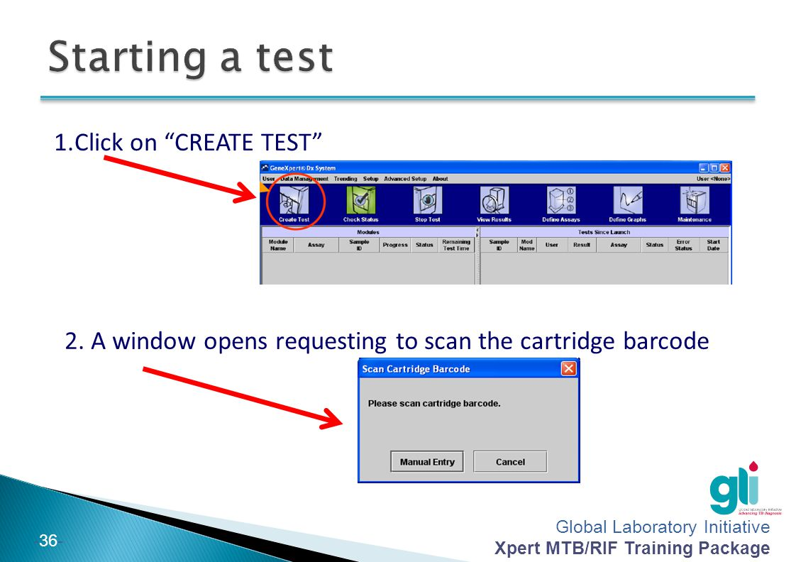 Starting a test Click on CREATE TEST