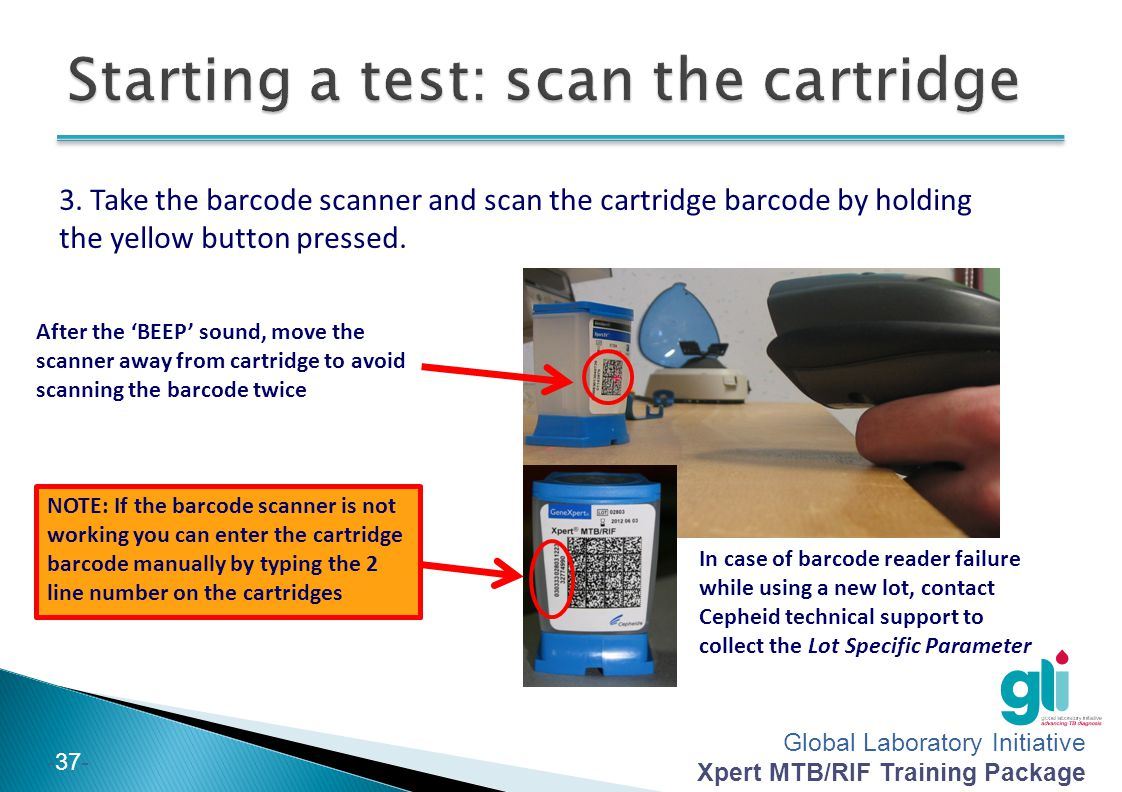 Starting a test: scan the cartridge