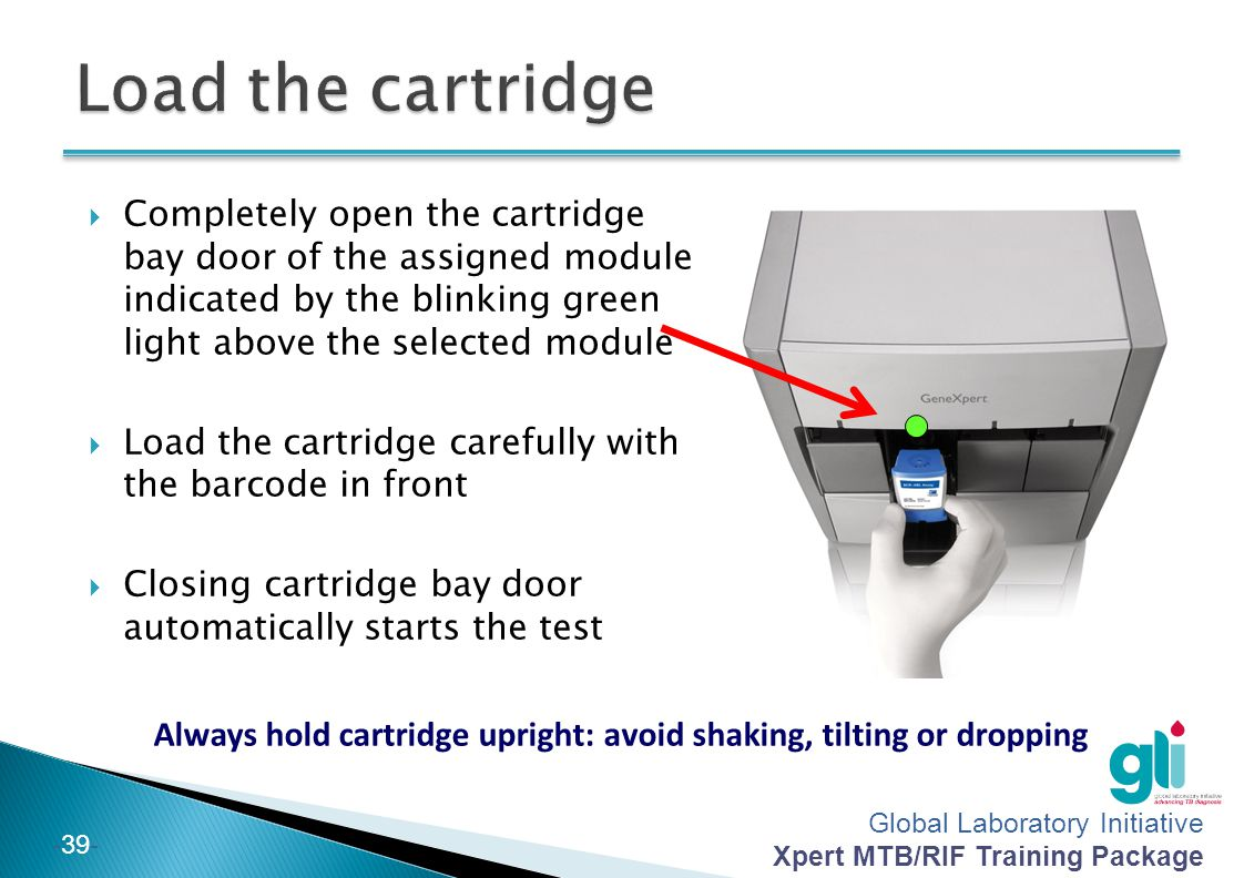 Always hold cartridge upright: avoid shaking, tilting or dropping