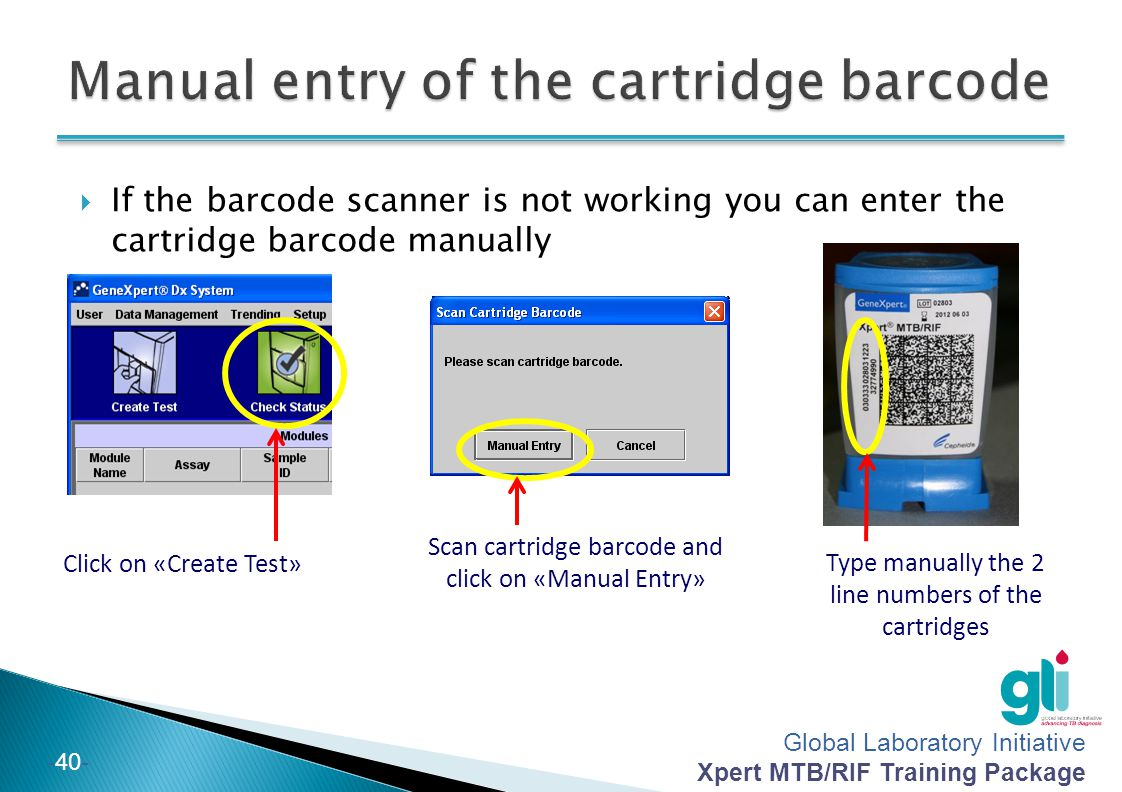 Manual entry of the cartridge barcode