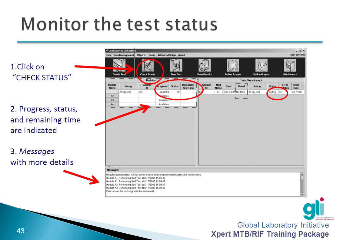 Monitor the test status