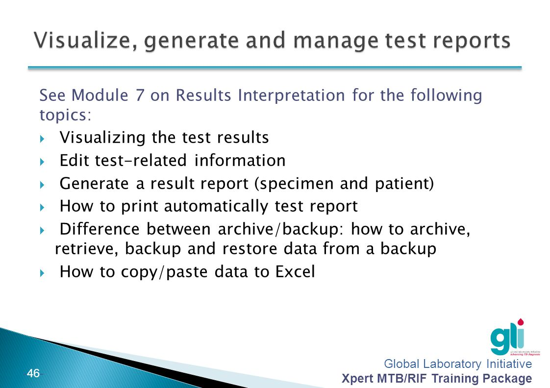 Visualize, generate and manage test reports