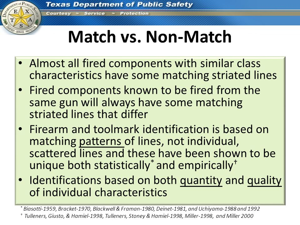 Match vs. Non-Match Almost all fired components with similar class characteristics have some matching striated lines.