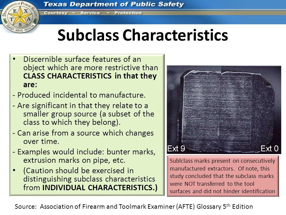 Subclass Characteristics