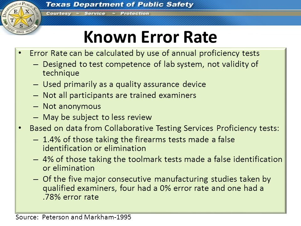 Known Error Rate Error Rate can be calculated by use of annual proficiency tests.