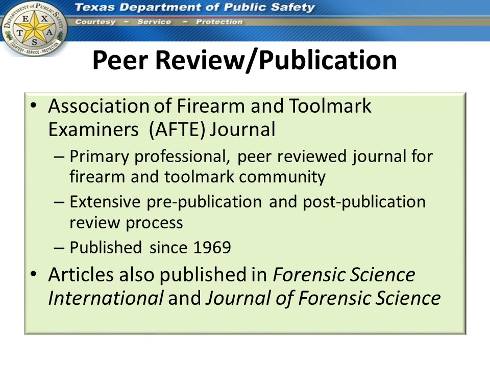 Peer Review/Publication