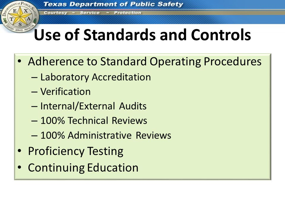 Use of Standards and Controls
