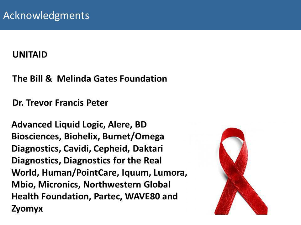Acknowledgments UNITAID The Bill & Melinda Gates Foundation