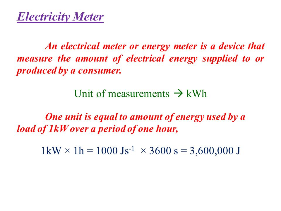 Unit of measurements  kWh