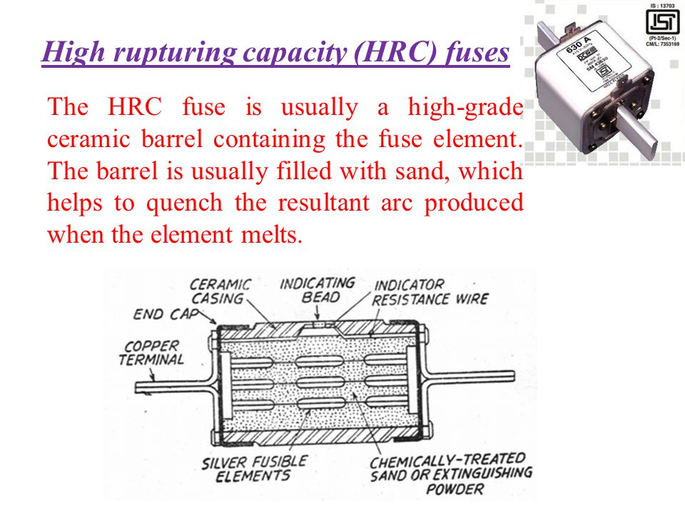 High rupturing capacity (HRC) fuses