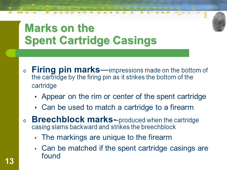 Marks on the Spent Cartridge Casings