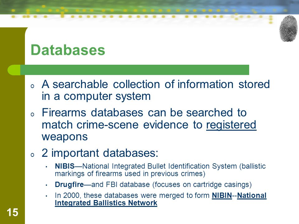Databases A searchable collection of information stored in a computer system.