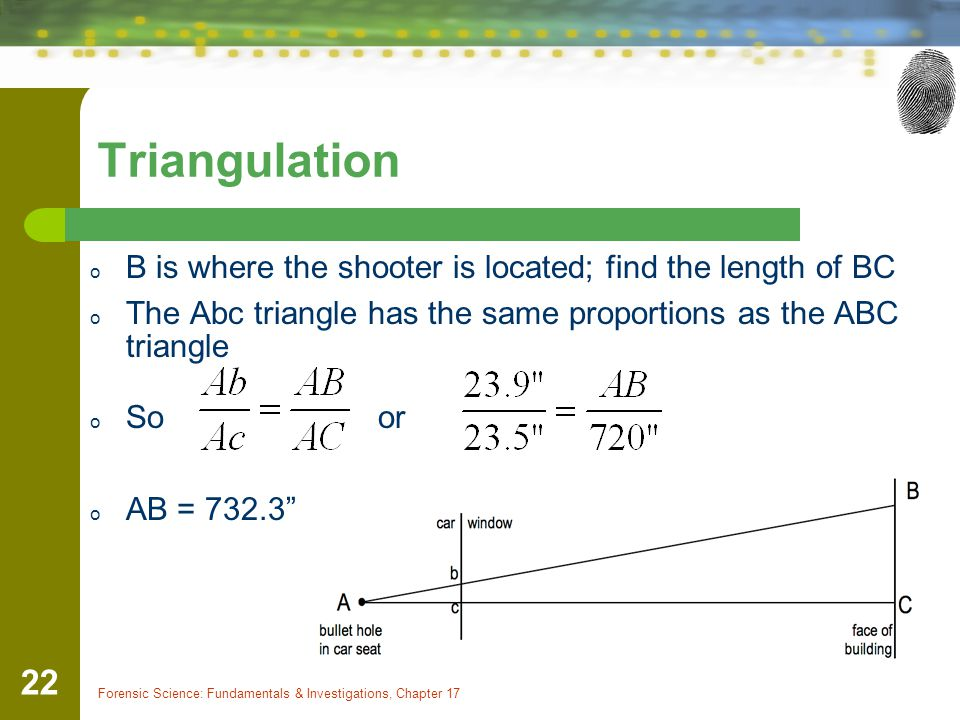 Triangulation B is where the shooter is located; find the length of BC
