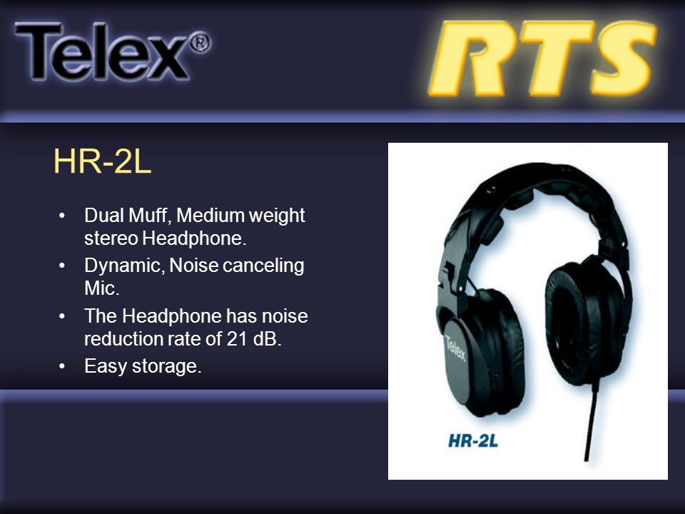 HR-2L Dual Muff, Medium weight stereo Headphone.