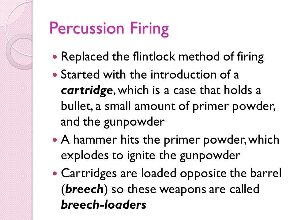 Percussion Firing Replaced the flintlock method of firing