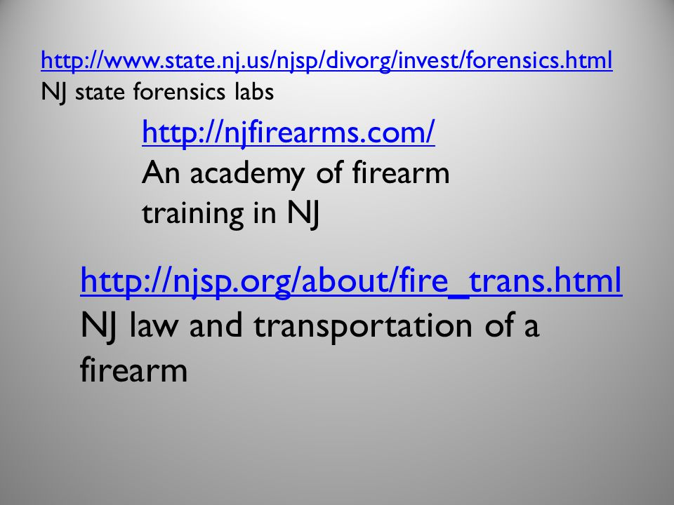 NJ law and transportation of a firearm
