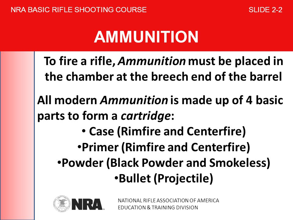 NRA BASIC RIFLE SHOOTING COURSE SLIDE 2-2 AMMUNITION