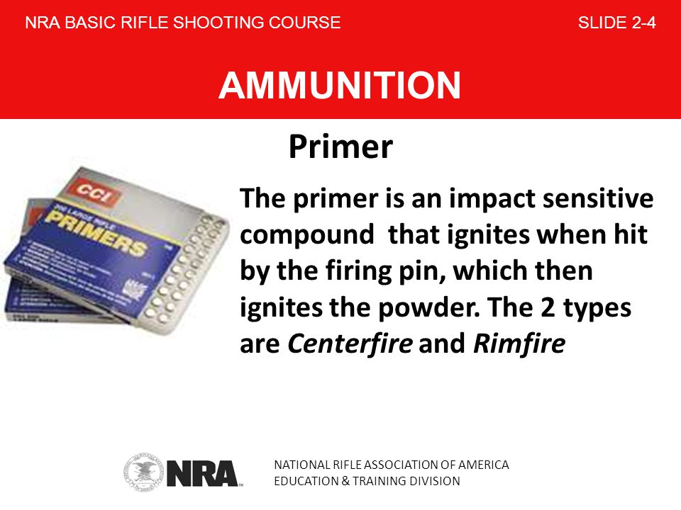 NRA BASIC RIFLE SHOOTING COURSE SLIDE 2-4 AMMUNITION
