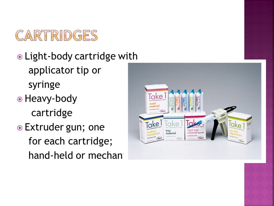 Cartridges Light-body cartridge with applicator tip or syringe
