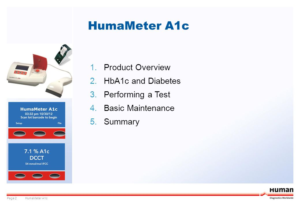 HumaMeter A1c Product Overview HbA1c and Diabetes Performing a Test