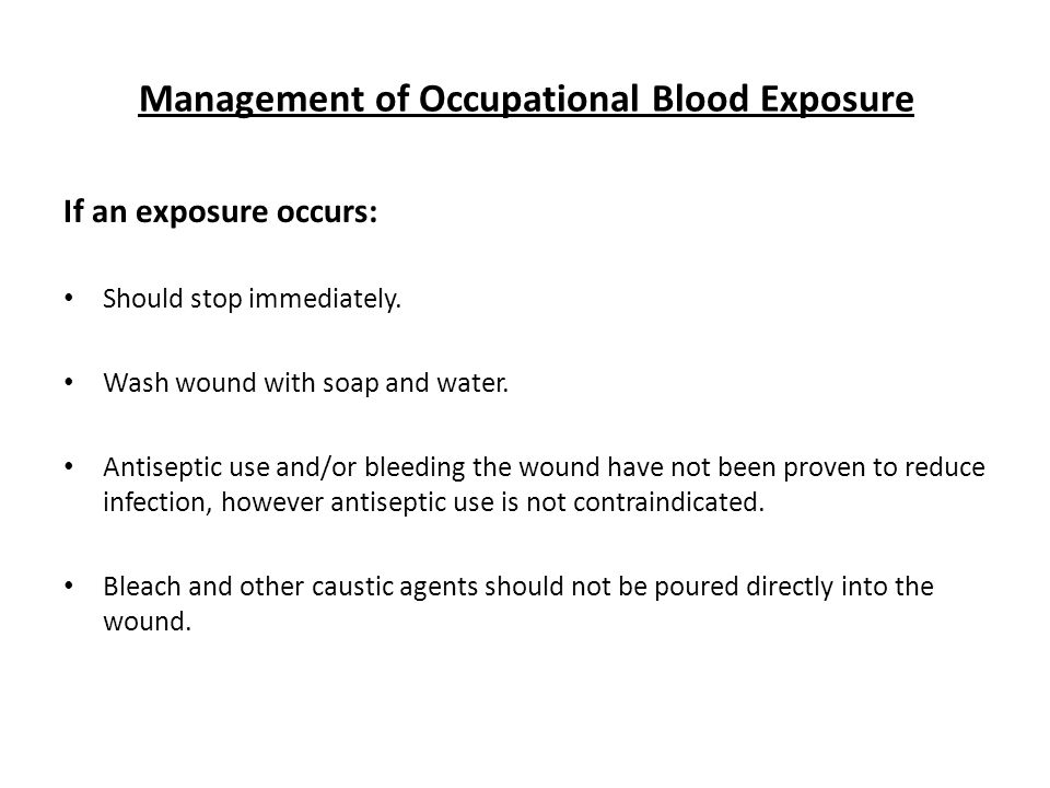 Management of Occupational Blood Exposure