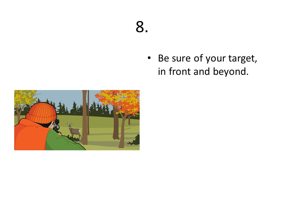 8. Be sure of your target, in front and beyond.