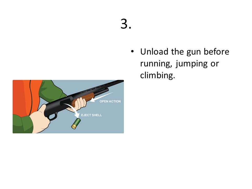 3. Unload the gun before running, jumping or climbing.